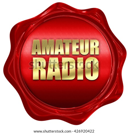 amateur radio, 3D rendering, a red wax seal - stock photo