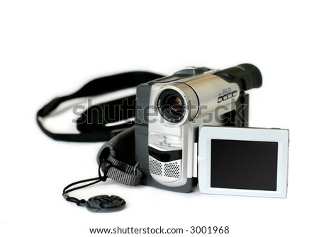 amateur video camera with revolving display on white background