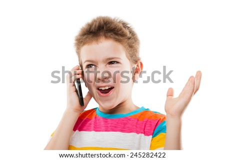Amazed and surprised child boy hand holding mobile phone or talking smartphone white isolated - stock photo