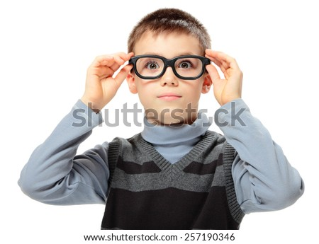 Amazed boy with glasses isolated on white background - stock photo