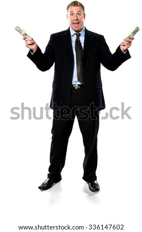 Amazed Caucasian young man with short medium brown hair in business formal outfit holding money - Isolated