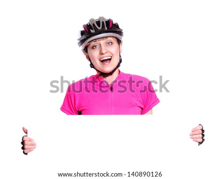 Amazed cyclist girl holding the blank board on white background closeup - stock photo