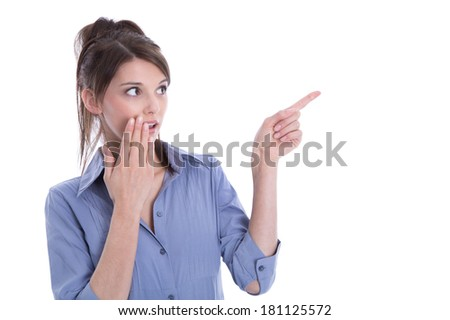 Amazed isolated woman pointing with her finger. - stock photo