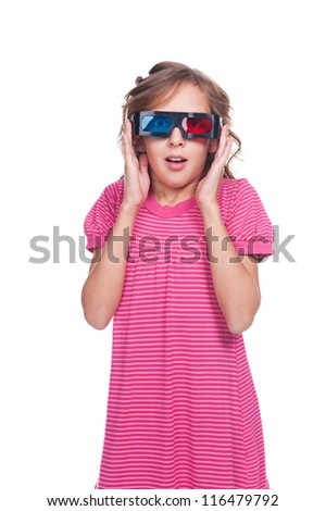 amazed little girl in 3d glasses. isolated on white background - stock photo