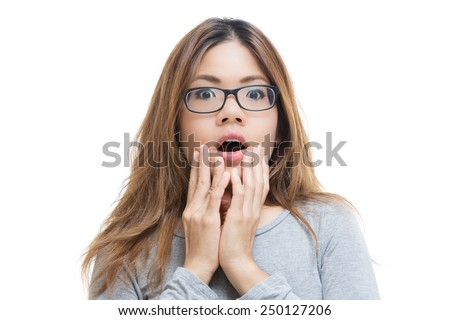 amazed woman - stock photo