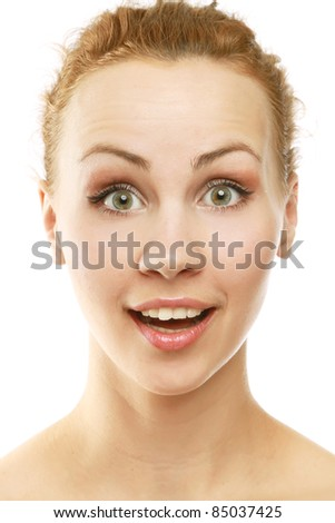 Amazed young woman isolated - stock photo
