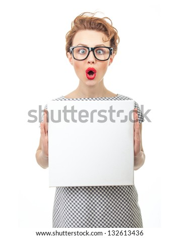 amazement or surprised female with blank white panel, isolated on white