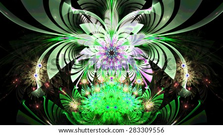 Amazing abstract fractal wallpaper with one large bright flower hovering over several smaller ones, all in high resolution and in bright vivid white,green,yellow,pink - stock photo
