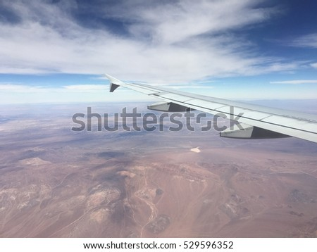Amazing aerial view of Atacama from airplane desert in Chile
