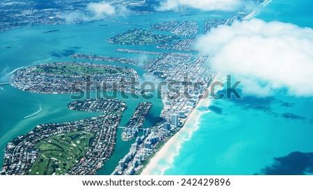 Amazing aerial view of Miami South Beach, Florida, USA. - stock photo