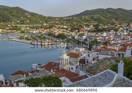 Aerial Panoramic View Tinos Town Centered Stock Photo - Where is greece located