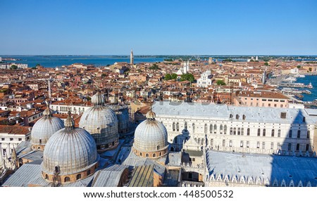 Amazing aerial view over the city of Venice