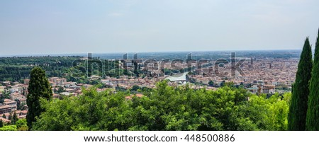 Amazing aerial view over the city of Verona - stock photo
