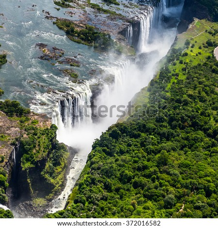 Amazing air view  of the Victoria Falls, Zambia and Zimbabwe. UNESCO World Heritage