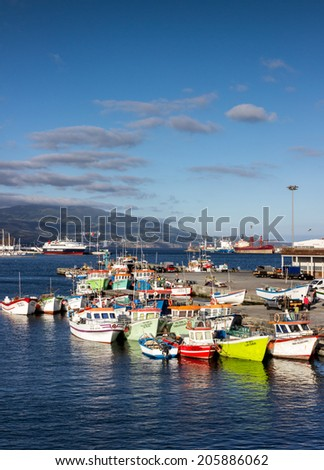 Amazing Azores, Sao Miguel island harbor - stock photo