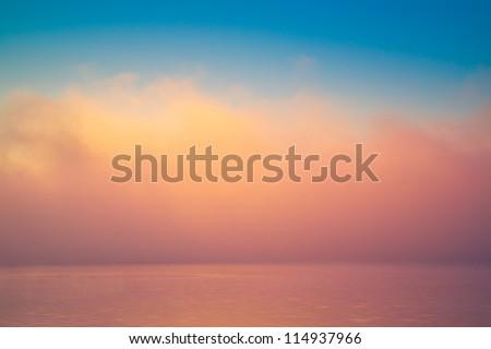 Amazing background fog cloud over river shiny wave at sunrise - stock photo