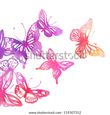 Amazing background with butterflies and flowers painted with watercolors - stock photo