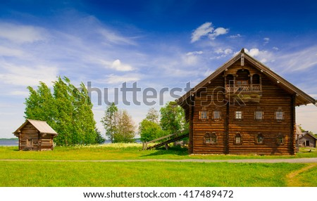 Amazing beautiful unique landscape. Old historical orthodox museum Kizhi. Island Karelia Onega. North country Russia. Wooden hut in coast river. UNESCO world heritage.