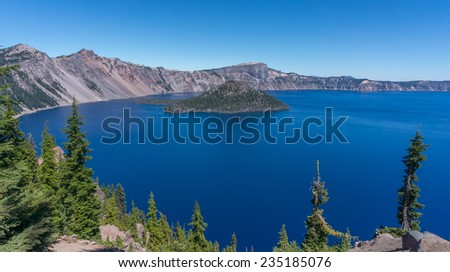 Amazing beauty of Crater lake, Oregon. - stock photo