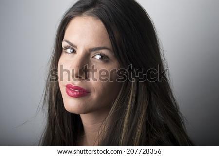 Amazing beauty - woman studio portrait (brunette)   - stock photo