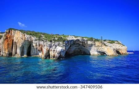 Amazing blue caves in Zakynthos island, Greece - stock photo