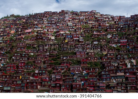 Amazing buddhist monastery in Tibet, Sichuan province, China - stock photo