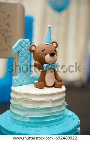 Amazing Cake Boys First Birthday Blue Stock Photo Image Royalty
