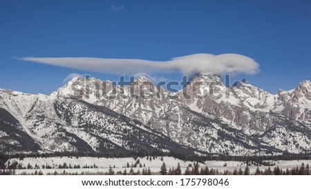 Amazing clouds above the Tetons shot from Taggart trailhead in Moose Wyoming. - stock photo