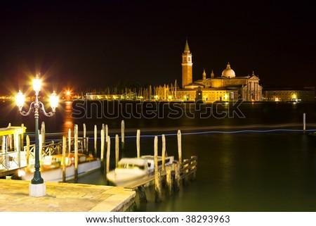 amazing color night in Venice - stock photo