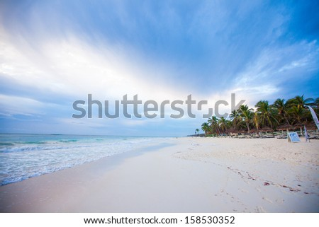 Amazing colorful sunset on the beach in Mexico - stock photo