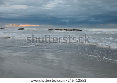 amazing colors of sea at sunset - stock photo