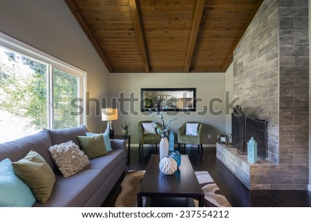 Amazing contemporary living room with view window, magnificent stone framed fire place, rug, table, couch with pillows, dark wooden floor and mirror  - stock photo