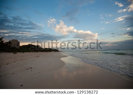 Amazing dawn on the beach in Mexico - stock photo