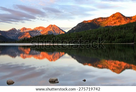 Amazing dawn reflection in the Utah mountains, USA. - stock photo