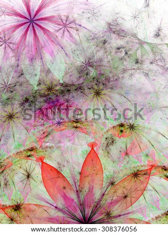 Amazing detailed high resolution flower wallpaper with decorative stars and a smaller flower in the left upper corner in pastel pink,red,green,orange