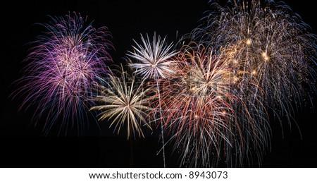 Amazing display of fireworks - stock photo