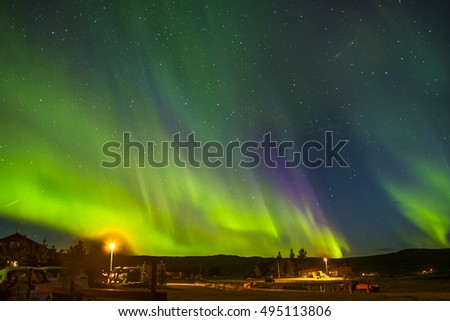 Amazing  display of the aurora borealis in Eastern Iceland.September 2nd,2016. The whole sky was lit up and different colours can be seen. Cosmic particles cause t molecules to glow green and purple