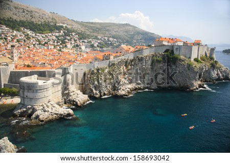 Amazing Dubrovnik old town and city walls, view from the St. Lawrence Fortress, Croatia  - stock photo