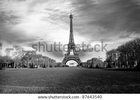 Amazing Eiffel Tower in the evening, Paris, France - stock photo
