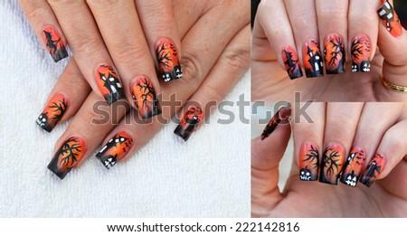 amazing free hand painted halloween nail art design
