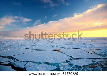 Amazing frost Sea landscape of Spitsbergen in the Arctic North Pole region. Soft focus. - stock photo