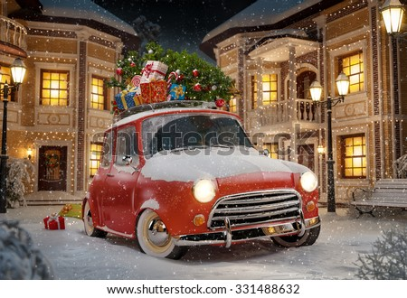 Amazing funny retro car with christmas tree and gift boxes on the roof in the cute city at night. Unusual christmas illustration - stock photo