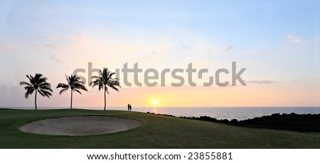 Amazing Golf Course Sunset, Kona Island Ocean Shore, Hawaii