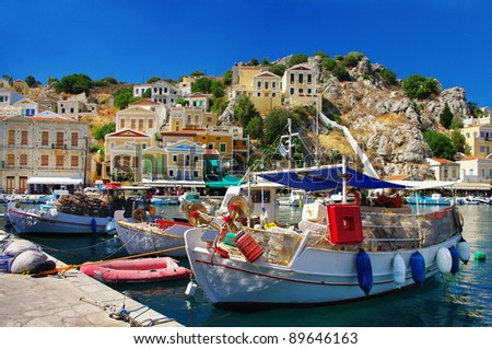 amazing Greece - pictorial island Symi with boats in harbor