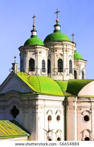 Amazing green cupola of church in Kiev taken in spring, Ukraine - stock photo