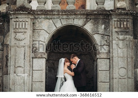 Amazing happy gentle stylish beautiful romantic caucasian couple on the background ancient baroque castle