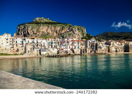 amazing harbor view of small town Cefalu in the province of Palermo, Sicily - stock photo