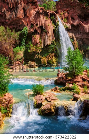 Amazing Havasu falls in Grand Canyon, Havasupai Indian Reservation, Arizona - stock photo
