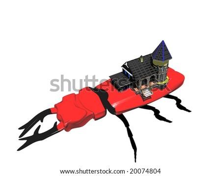 Amazing illustration beetle and house - stock photo