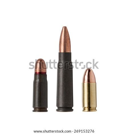 Amazing Isolated Ammunition 9mm 7.62 Tokarev - stock photo